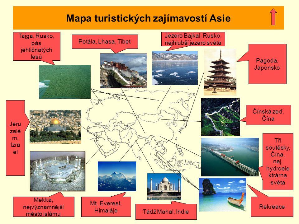 Mapa turistických zajímavostí Asie Jezero Bajkal, Rusko, nejhlubší jezero světa Potála, Lhasa, Tibet Tajga, Rusko, pás jehličnatých lesů Jeru zalé m,