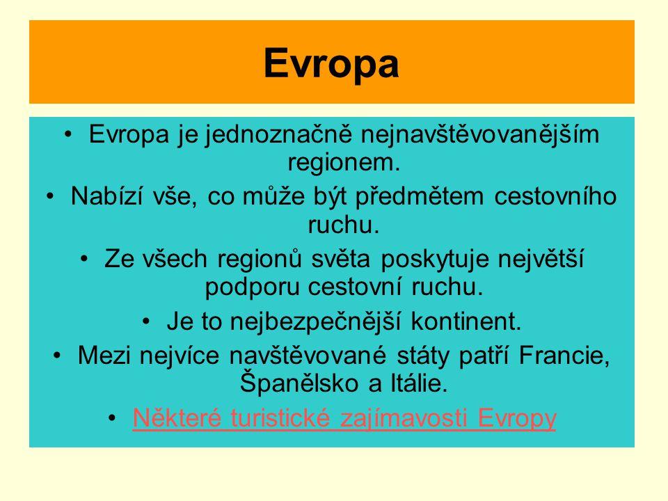 Evropa Evropa je jednoznačně nejnavštěvovanějším regionem. Nabízí vše, co může být předmětem cestovního ruchu. Ze všech regionů světa poskytuje největ