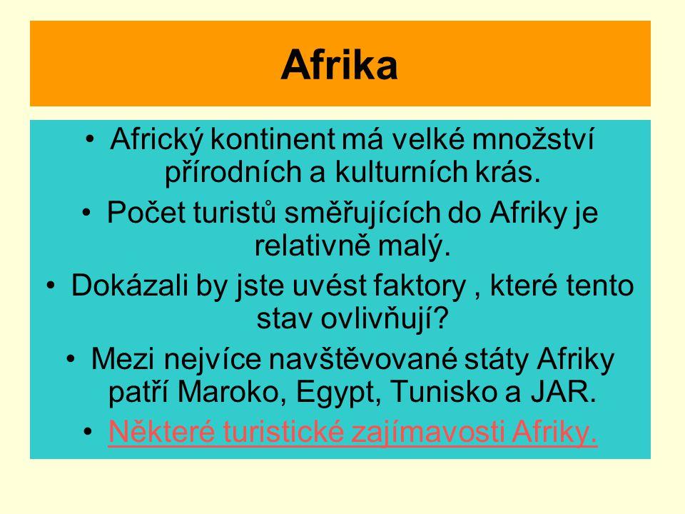 Afrika Africký kontinent má velké množství přírodních a kulturních krás. Počet turistů směřujících do Afriky je relativně malý. Dokázali by jste uvést