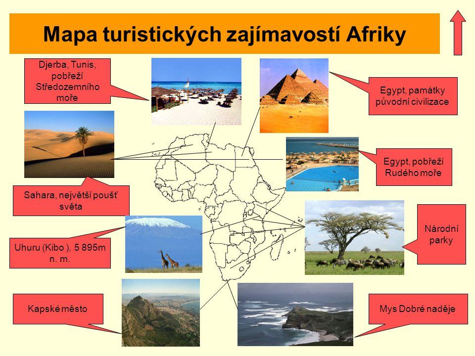 Mapa turistických zajímavostí Afriky Egypt, památky původní civilizace Egypt, pobřeží Rudého moře Národní parky Djerba, Tunis, pobřeží Středozemního m
