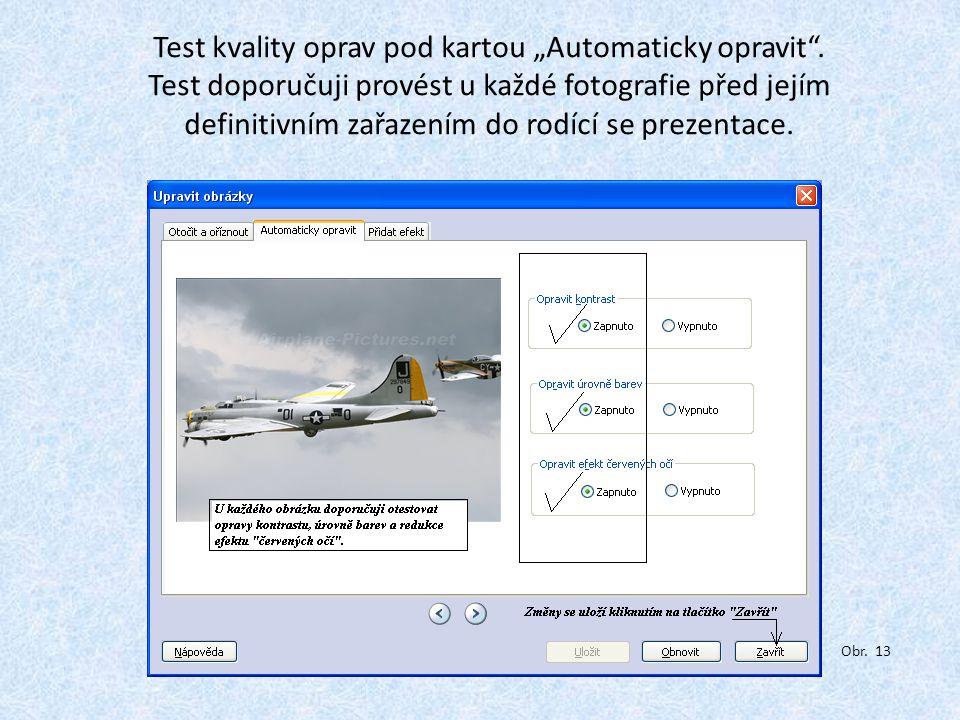 """Test kvality oprav pod kartou """"Automaticky opravit ."""
