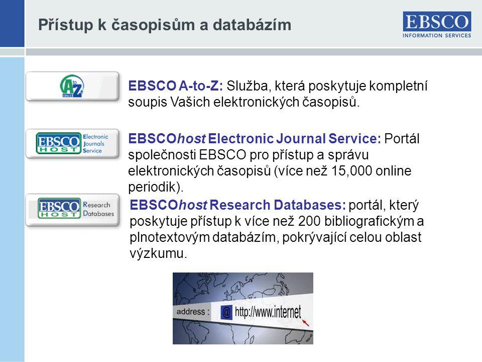 Přístup k časopisům a databázím EBSCOhost Research Databases: portál, který poskytuje přístup k více než 200 bibliografickým a plnotextovým databázím, pokrývající celou oblast výzkumu.