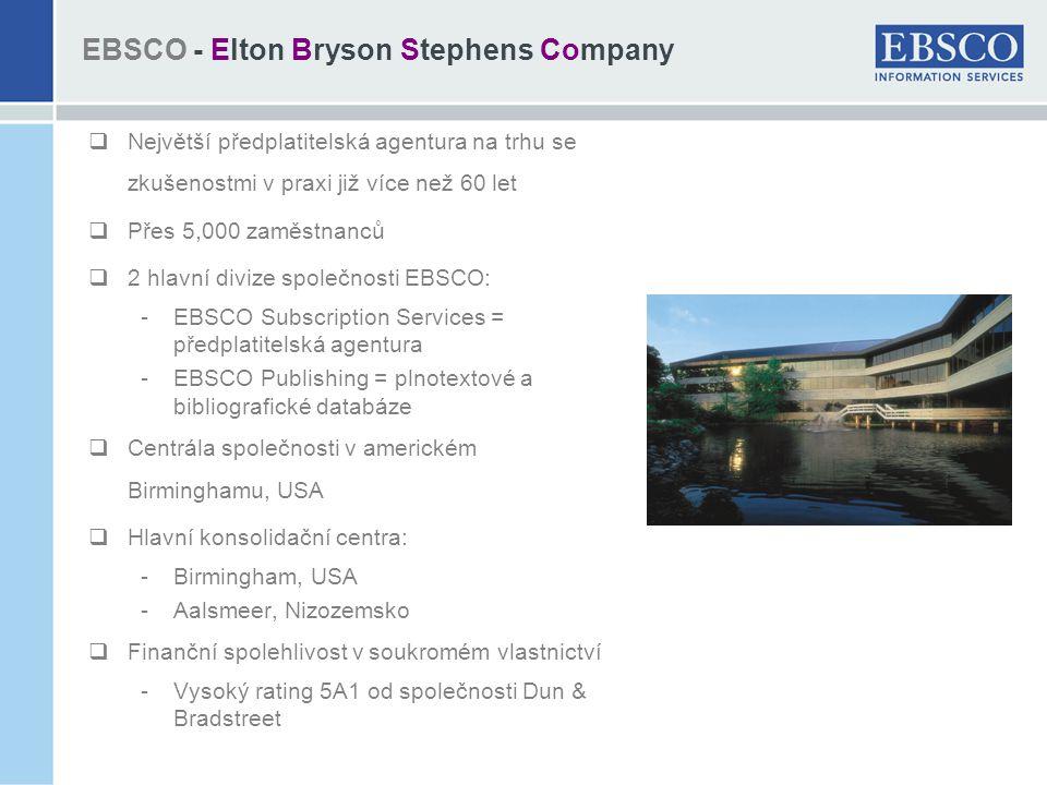 EBSCO - Elton Bryson Stephens Company  Největší předplatitelská agentura na trhu se zkušenostmi v praxi již více než 60 let  Přes 5,000 zaměstnanců  2 hlavní divize společnosti EBSCO: -EBSCO Subscription Services = předplatitelská agentura -EBSCO Publishing = plnotextové a bibliografické databáze  Centrála společnosti v americkém Birminghamu, USA  Hlavní konsolidační centra: -Birmingham, USA -Aalsmeer, Nizozemsko  Finanční spolehlivost v soukromém vlastnictví -Vysoký rating 5A1 od společnosti Dun & Bradstreet