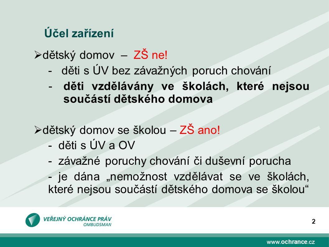 www.ochrance.cz 2 Účel zařízení  dětský domov – ZŠ ne! - děti s ÚV bez závažných poruch chování -děti vzdělávány ve školách, které nejsou součástí dě
