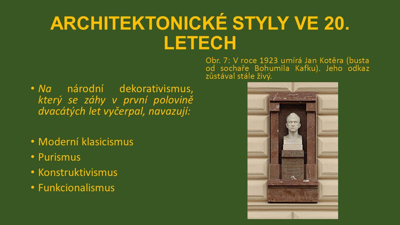 ARCHITEKTONICKÉ STYLY VE 20.