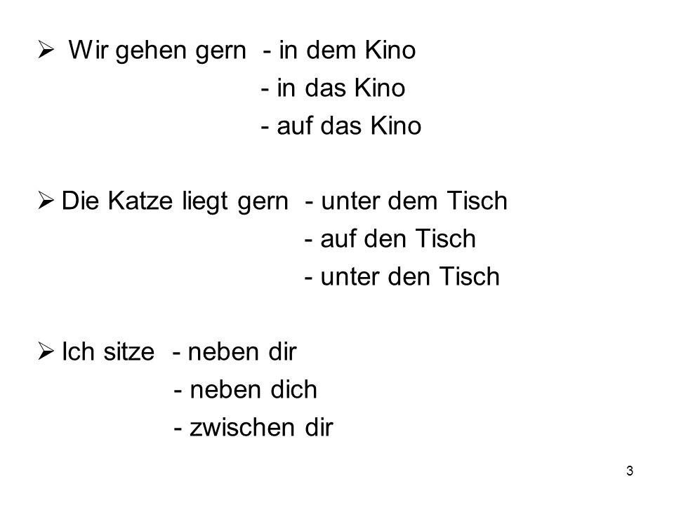 4 2.Doplň po předložce správný člen  Der Stuhl steht zwischen ___ Schrank und ___ Bett.