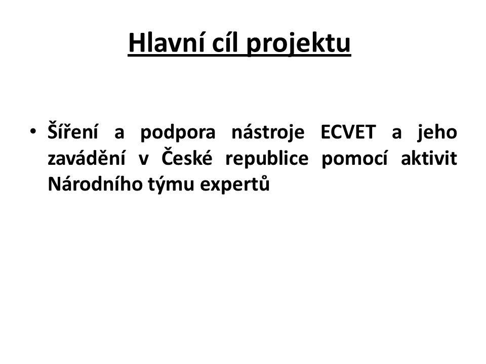 Hlavní cíl projektu Šíření a podpora nástroje ECVET a jeho zavádění v České republice pomocí aktivit Národního týmu expertů