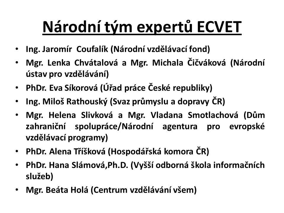 Národní tým expertů ECVET Ing. Jaromír Coufalík (Národní vzdělávací fond) Mgr.