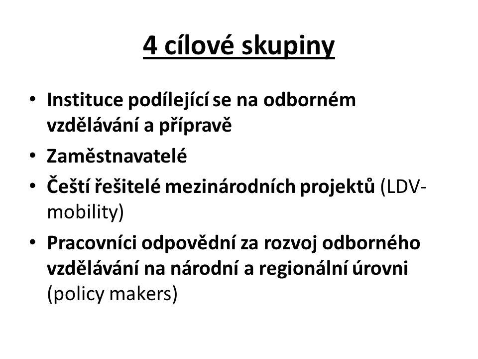 4 cílové skupiny Instituce podílející se na odborném vzdělávání a přípravě Zaměstnavatelé Čeští řešitelé mezinárodních projektů (LDV- mobility) Pracovníci odpovědní za rozvoj odborného vzdělávání na národní a regionální úrovni (policy makers)