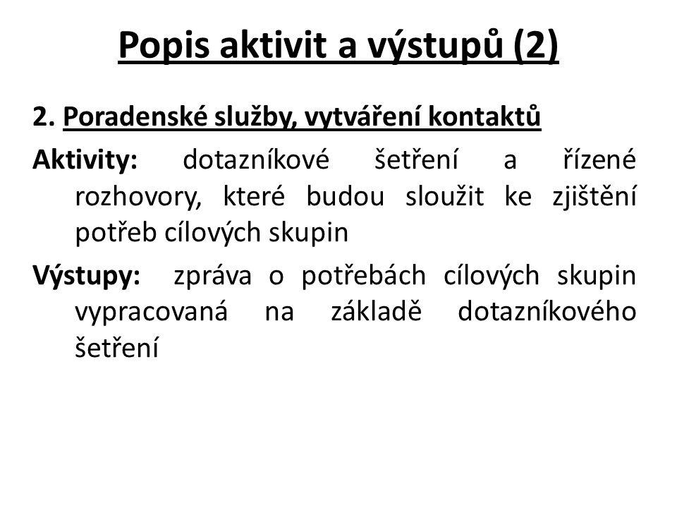 Popis aktivit a výstupů (2) 2.