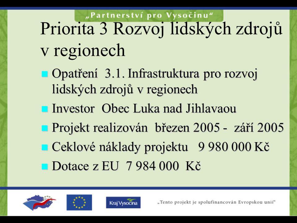 Priorita 3 Rozvoj lidských zdrojů v regionech Opatření 3.1.