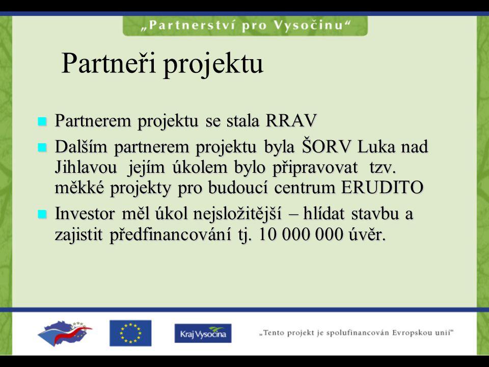 Partneři projektu Partnerem projektu se stala RRAV Partnerem projektu se stala RRAV Dalším partnerem projektu byla ŠORV Luka nad Jihlavou jejím úkolem bylo připravovat tzv.
