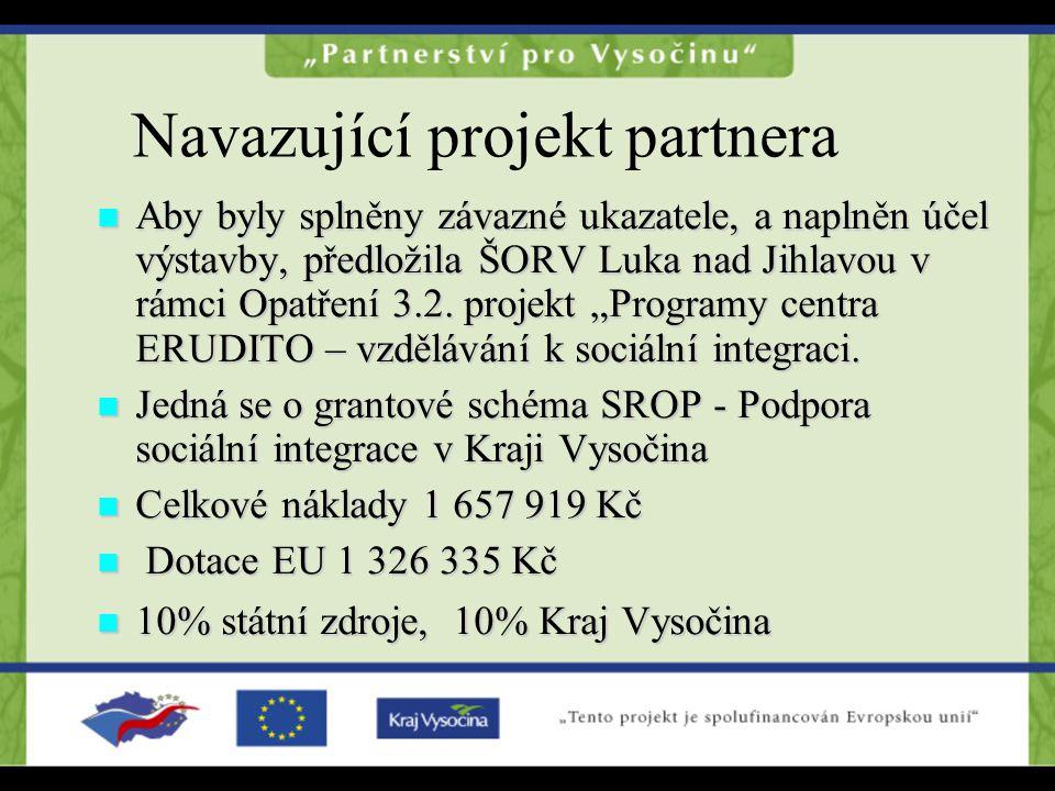 Navazující projekt partnera Aby byly splněny závazné ukazatele, a naplněn účel výstavby, předložila ŠORV Luka nad Jihlavou v rámci Opatření 3.2.
