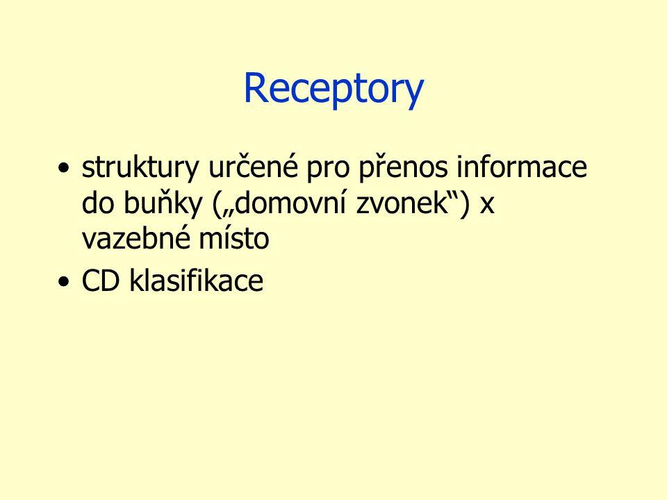 """Receptory struktury určené pro přenos informace do buňky (""""domovní zvonek ) x vazebné místo CD klasifikace"""