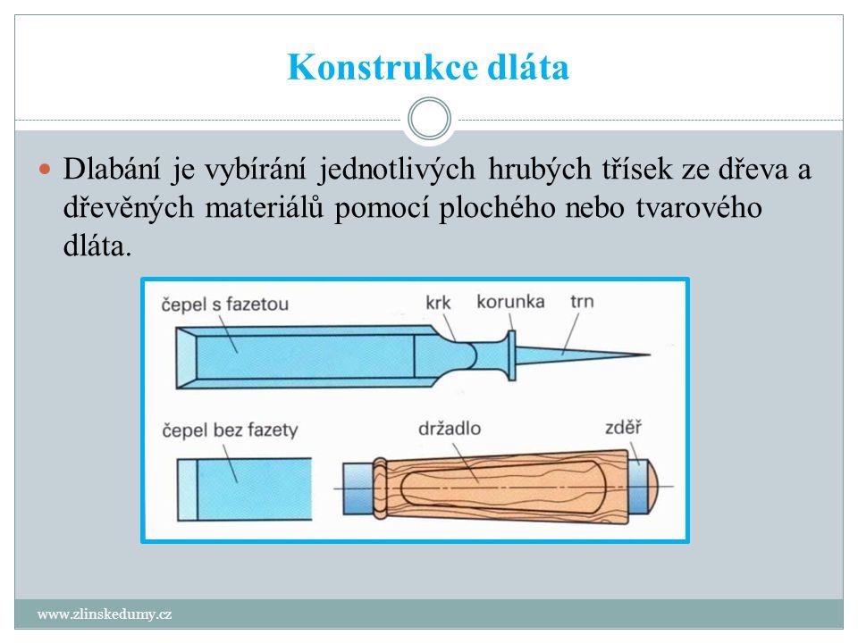 Konstrukce dláta www.zlinskedumy.cz Dlabání je vybírání jednotlivých hrubých třísek ze dřeva a dřevěných materiálů pomocí plochého nebo tvarového dláta.