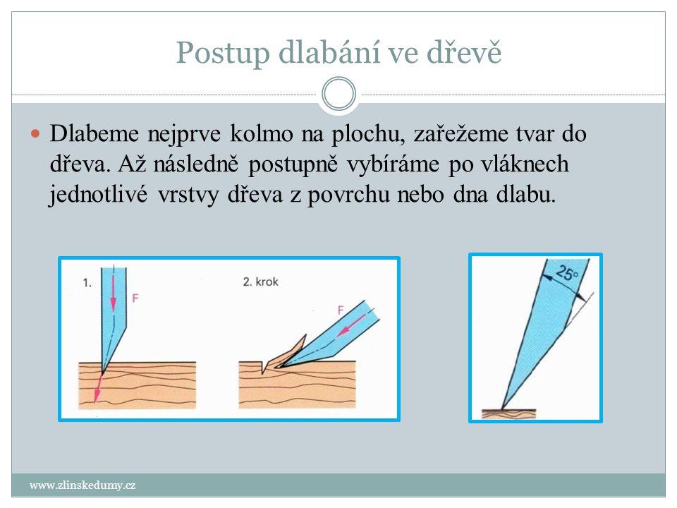 Postup dlabání ve dřevě www.zlinskedumy.cz Dlabeme nejprve kolmo na plochu, zařežeme tvar do dřeva. Až následně postupně vybíráme po vláknech jednotli