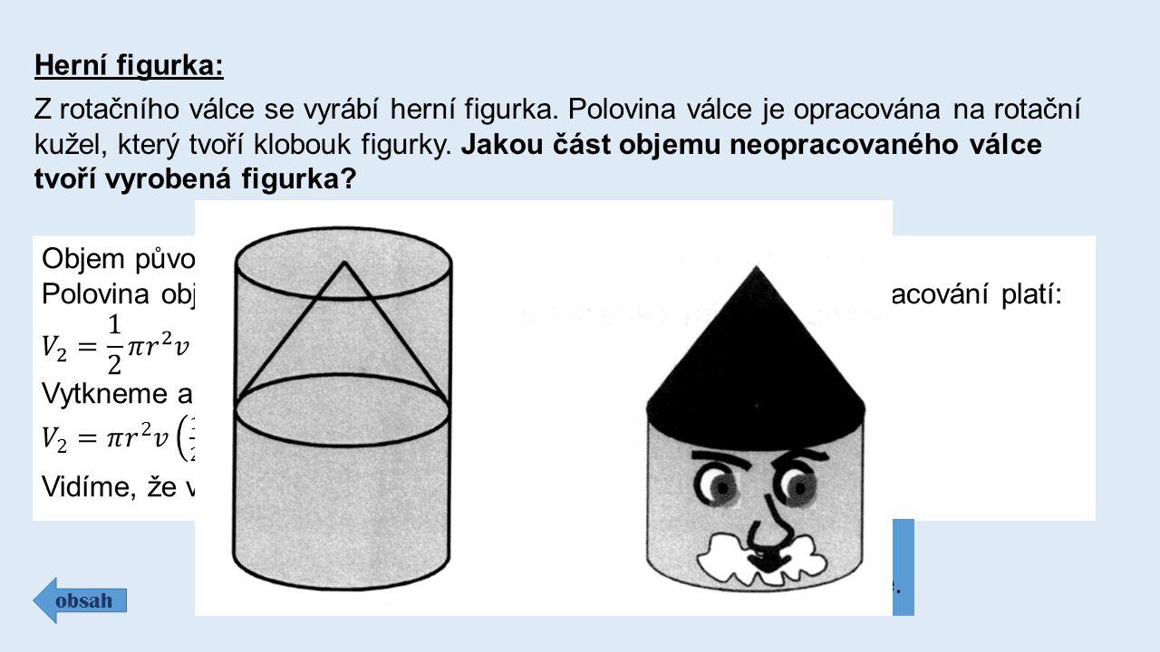 Herní figurka: Z rotačního válce se vyrábí herní figurka. Polovina válce je opracována na rotační kužel, který tvoří klobouk figurky. Jakou část objem