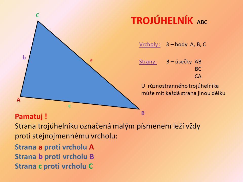 Pamatuj ! Strana trojúhelníku označená malým písmenem leží vždy proti stejnojmennému vrcholu: TROJÚHELNÍK ABC Vrcholy :3 – body A, B, C Strany:3 – úse