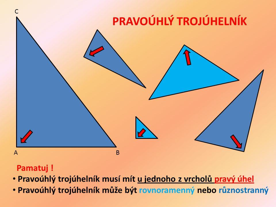 PRAVOÚHLÝ TROJÚHELNÍK Pamatuj ! Pravoúhlý trojúhelník musí mít u jednoho z vrcholů pravý úhel Pravoúhlý trojúhelník může být rovnoramenný nebo různost