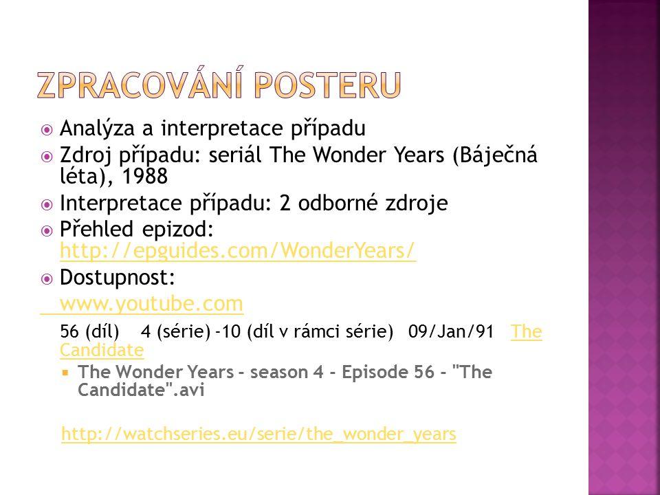  Analýza a interpretace případu  Zdroj případu: seriál The Wonder Years (Báječná léta), 1988  Interpretace případu: 2 odborné zdroje  Přehled epiz