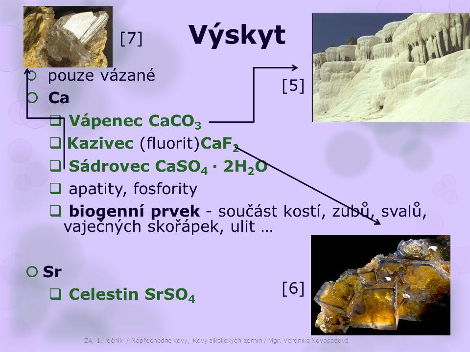 Výskyt  pouze vázané  Ca  Vápenec CaCO 3  Kazivec (fluorit)CaF 2  Sádrovec CaSO 4 · 2H 2 O  apatity, fosfority  biogenní prvek - součást kostí,