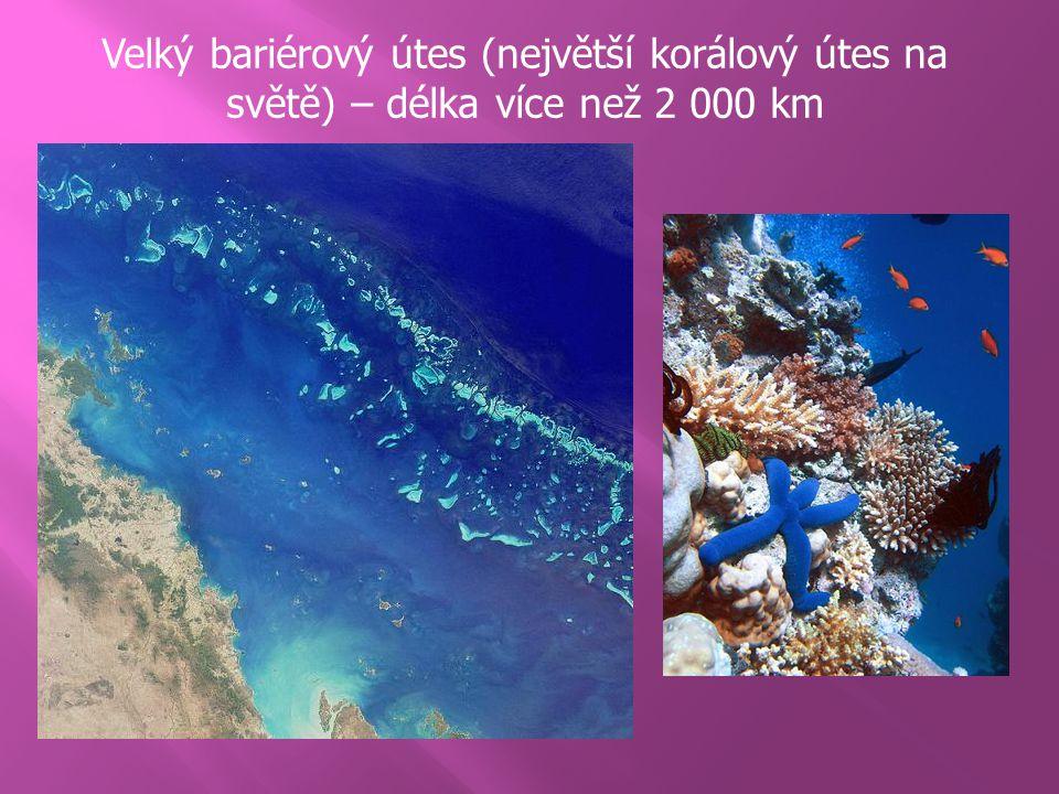 Velký bariérový útes (největší korálový útes na světě) – délka více než 2 000 km