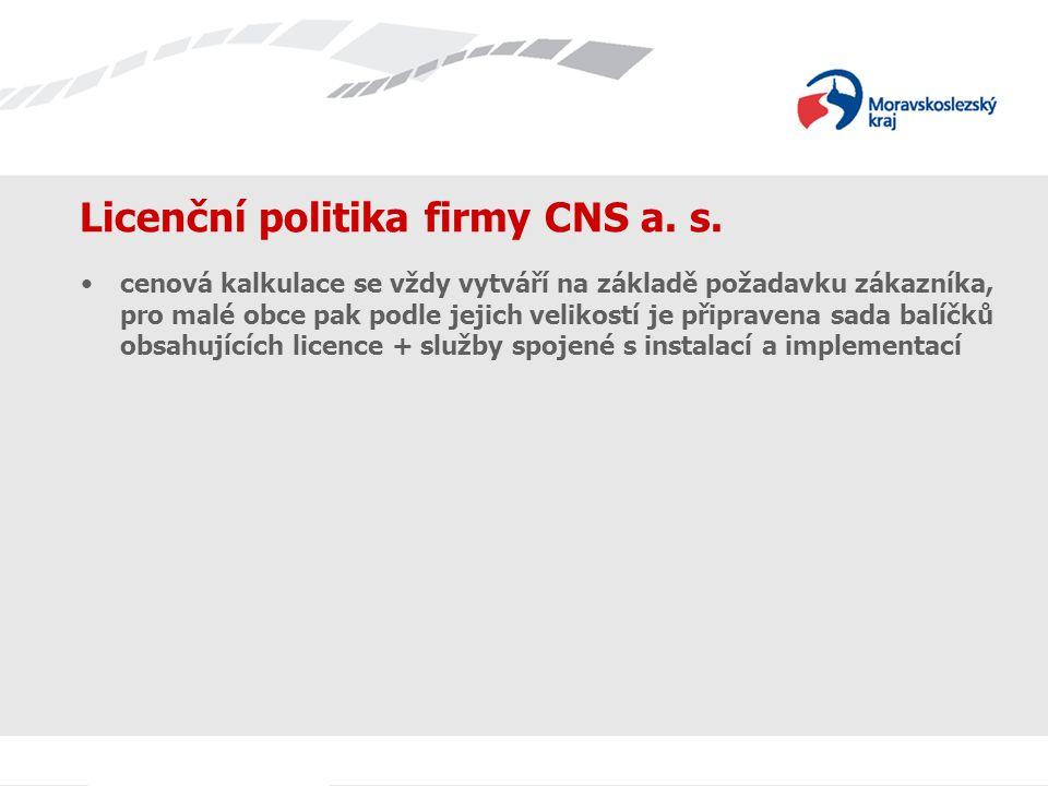 Licenční politika firmy CNS a. s. cenová kalkulace se vždy vytváří na základě požadavku zákazníka, pro malé obce pak podle jejich velikostí je připrav