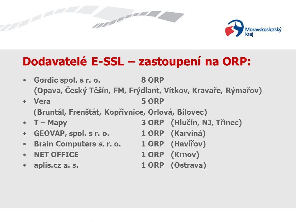Dodavatelé E-SSL – zastoupení na ORP: Gordic spol. s r. o. 8 ORP (Opava, Český Těšín, FM, Frýdlant, Vítkov, Kravaře, Rýmařov) Vera5 ORP (Bruntál, Fren