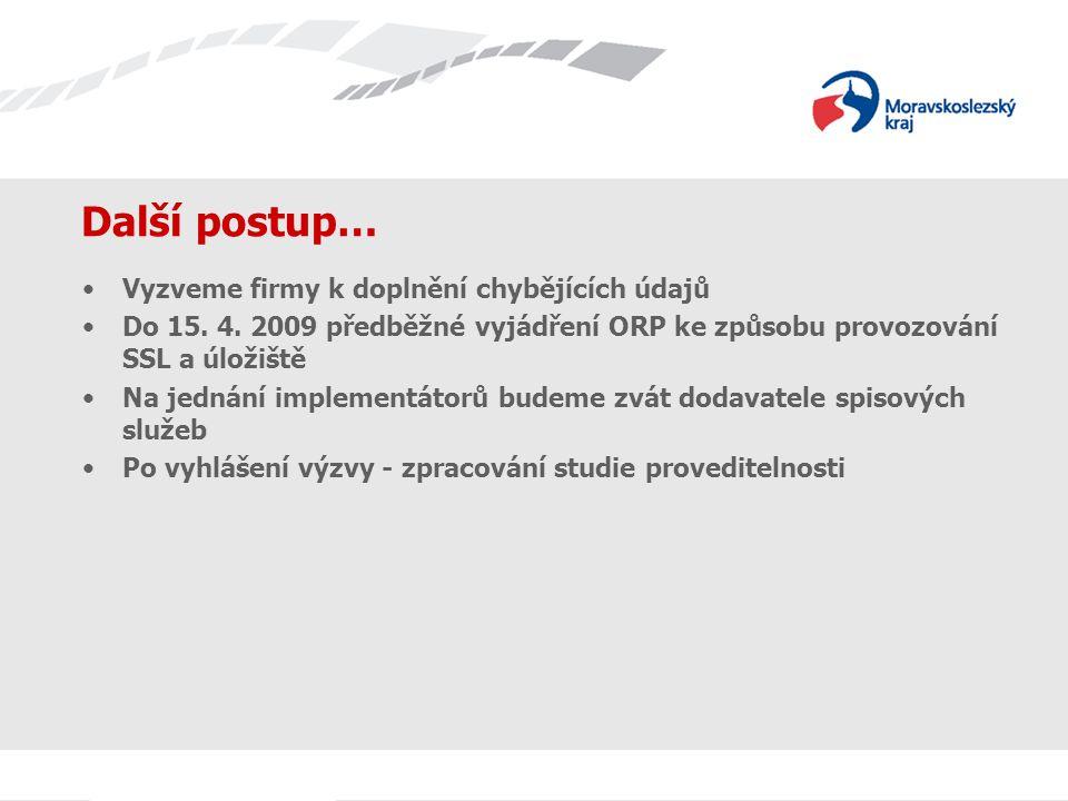 Další postup… Vyzveme firmy k doplnění chybějících údajů Do 15. 4. 2009 předběžné vyjádření ORP ke způsobu provozování SSL a úložiště Na jednání imple