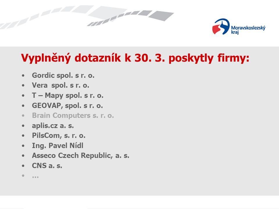 Vyplněný dotazník k 30. 3. poskytly firmy: Gordic spol. s r. o. Vera spol. s r. o. T – Mapy spol. s r. o. GEOVAP, spol. s r. o. Brain Computers s. r.