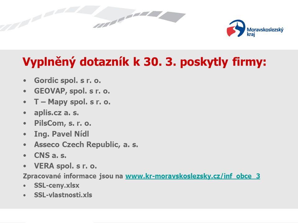Vyplněný dotazník k 30. 3. poskytly firmy: Gordic spol. s r. o. GEOVAP, spol. s r. o. T – Mapy spol. s r. o. aplis.cz a. s. PilsCom, s. r. o. Ing. Pav