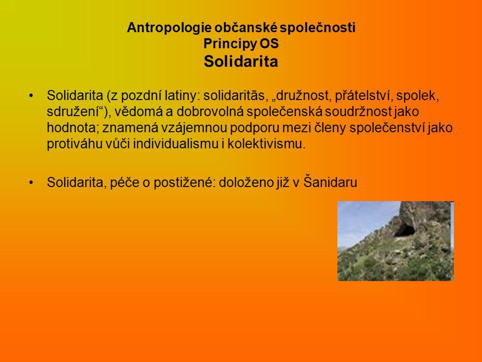 """Antropologie občanské společnosti Principy OS Solidarita Solidarita (z pozdní latiny: solidaritās, """"družnost, přátelství, spolek, sdružení ), vědomá a dobrovolná společenská soudržnost jako hodnota; znamená vzájemnou podporu mezi členy společenství jako protiváhu vůči individualismu i kolektivismu."""