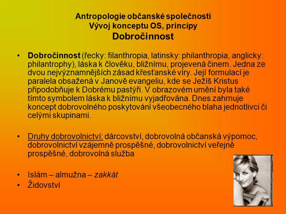 Antropologie občanské společnosti Vývoj konceptu OS, principy Dobročinnost Dobročinnost (řecky: filanthropia, latinsky: philanthropia, anglicky: philantrophy), láska k člověku, bližnímu, projevená činem.