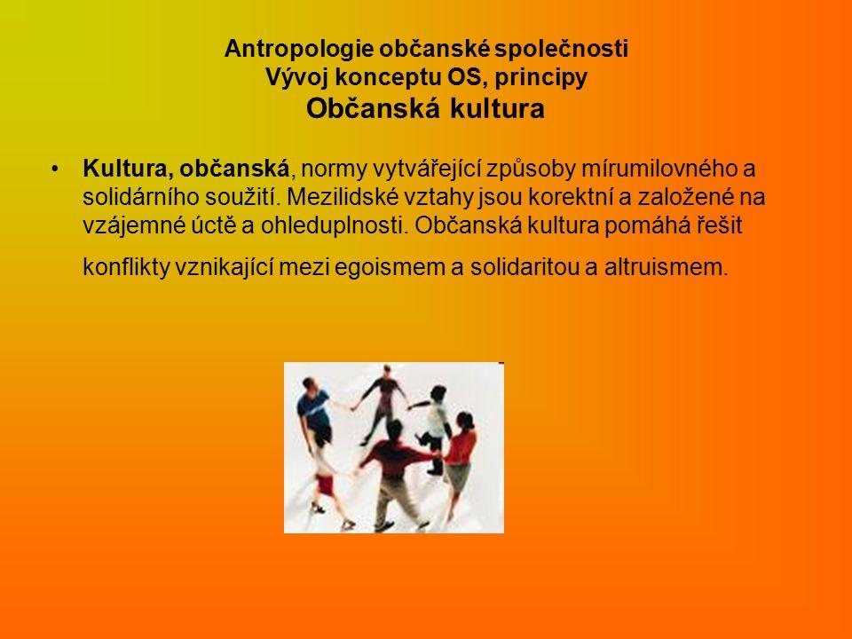 Antropologie občanské společnosti Vývoj konceptu OS, principy Občanská kultura Kultura, občanská, normy vytvářející způsoby mírumilovného a solidárního soužití.