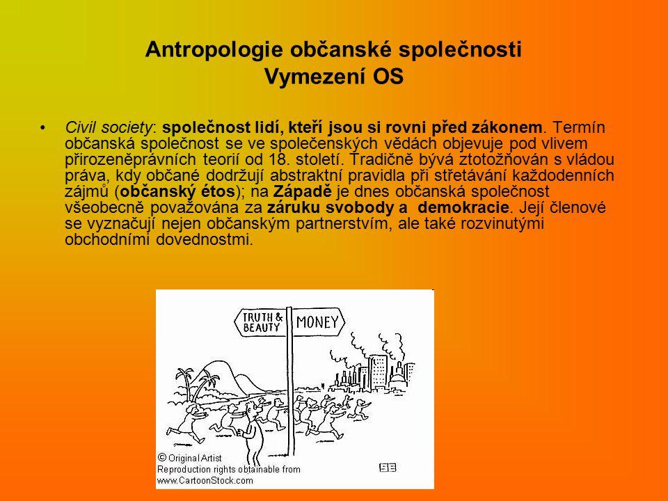 Antropologie občanské společnosti Vymezení OS Civil society: společnost lidí, kteří jsou si rovni před zákonem.