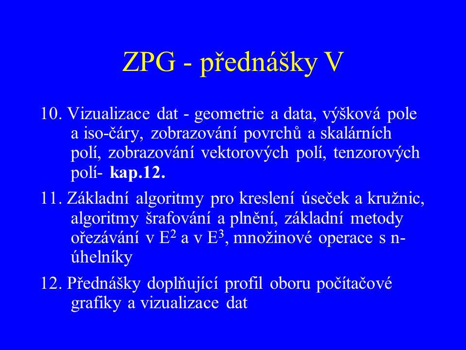 ZPG - přednášky V 10. Vizualizace dat - geometrie a data, výšková pole a iso-čáry, zobrazování povrchů a skalárních polí, zobrazování vektorových polí