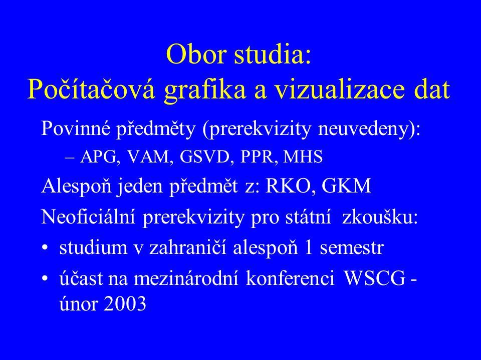 Obor studia: Počítačová grafika a vizualizace dat Povinné předměty (prerekvizity neuvedeny): –APG, VAM, GSVD, PPR, MHS Alespoň jeden předmět z: RKO, G