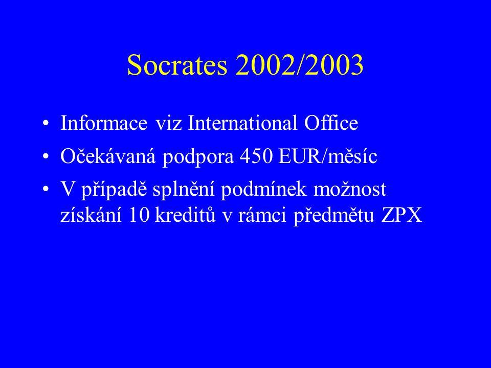 Socrates 2002/2003 Informace viz International Office Očekávaná podpora 450 EUR/měsíc V případě splnění podmínek možnost získání 10 kreditů v rámci př