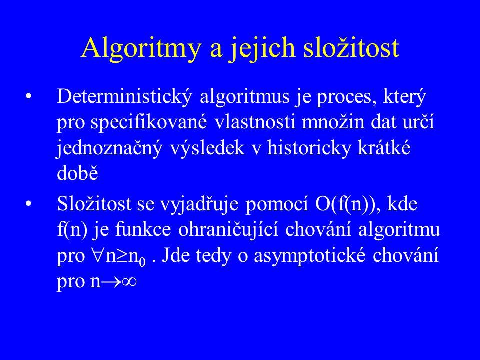 Algoritmy a jejich složitost Deterministický algoritmus je proces, který pro specifikované vlastnosti množin dat určí jednoznačný výsledek v historick