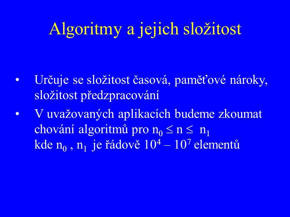 Algoritmy a jejich složitost Určuje se složitost časová, paměťové nároky, složitost předzpracování V uvažovaných aplikacích budeme zkoumat chování alg