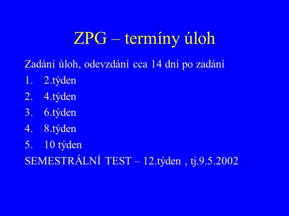 ZPG - zkoušky 16.5.16:40 čtvrtek 17.5. 14:00 pátek – ústní v sobotu 24.6.