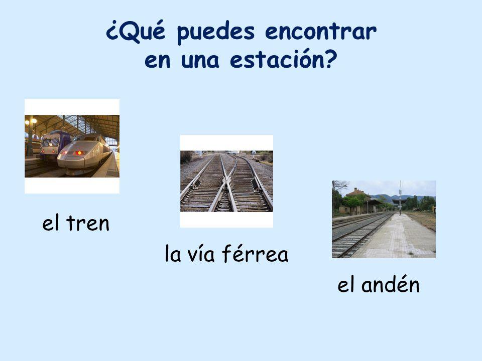 ¿Qué puedes encontrar en una estación? el tren la vía férrea el andén