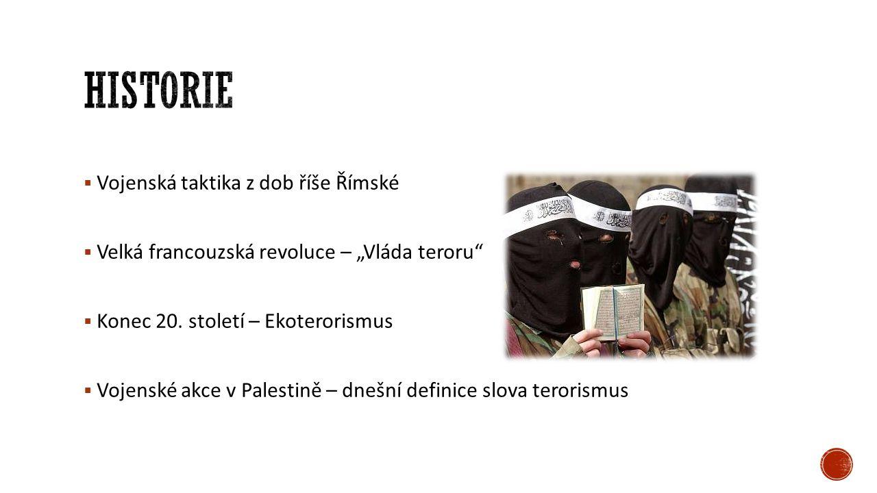 """ Vojenská taktika z dob říše Římské  Velká francouzská revoluce – """"Vláda teroru""""  Konec 20. století – Ekoterorismus  Vojenské akce v Palestině – d"""