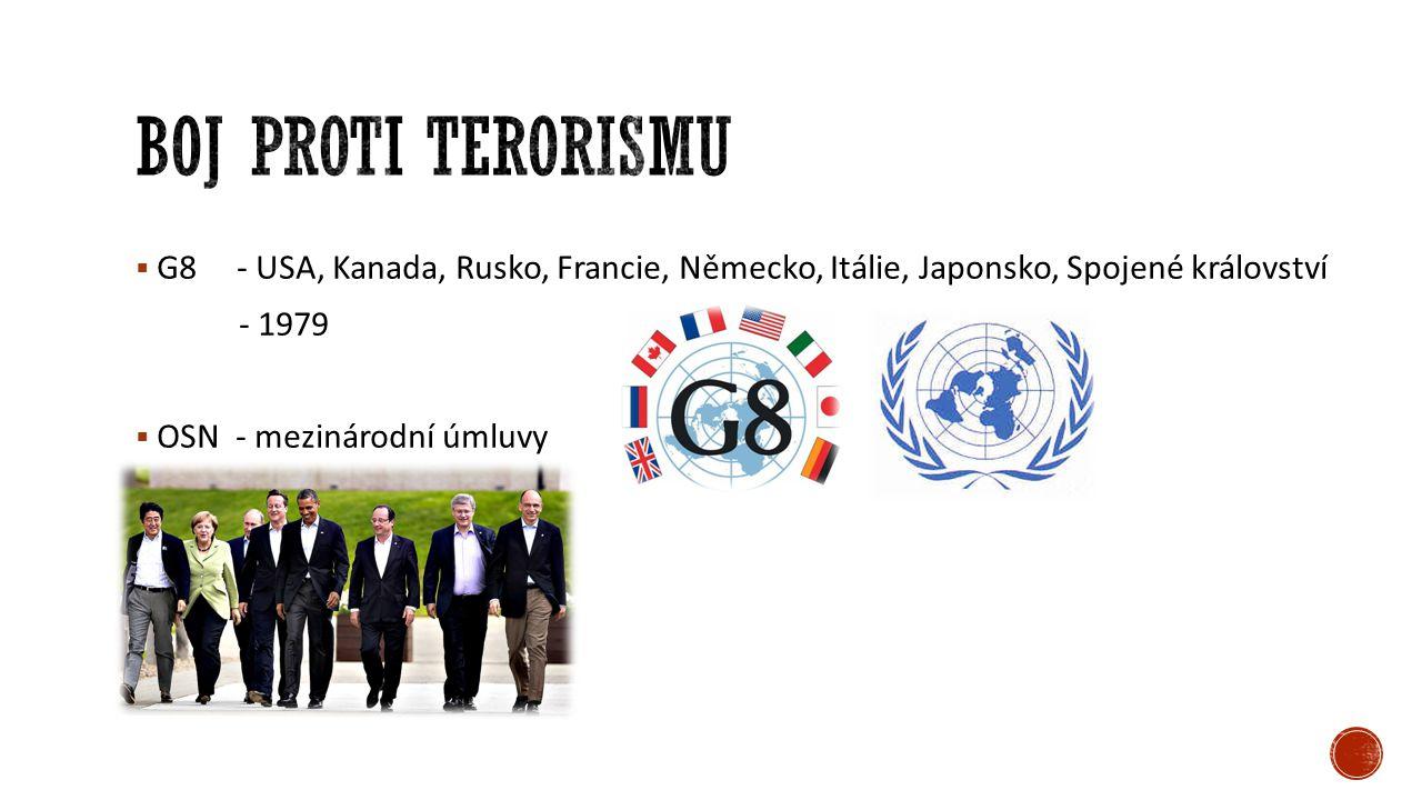  Asie – Al Káida, Taliban (Blízký východ)  Afrika – GIA, Boko Haram  Evropa – Jestřábi za osvobození Kurdistánu (Turecko), GRAPO (Španělsko)