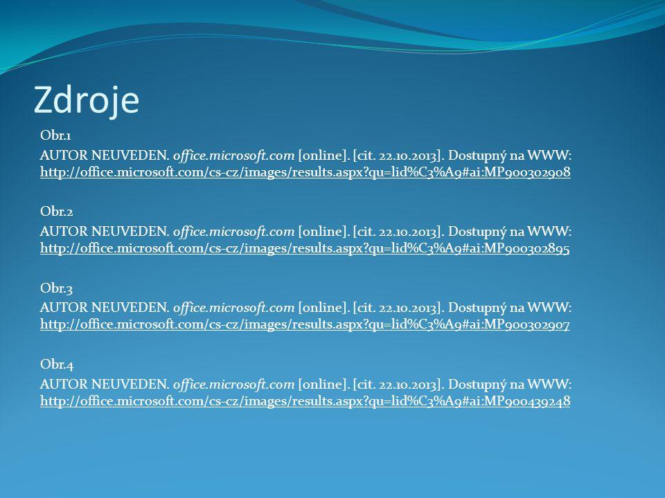Zdroje Obr.1 AUTOR NEUVEDEN. office.microsoft.com [online].