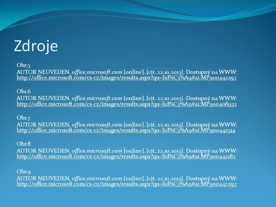 Zdroje Obr.5 AUTOR NEUVEDEN. office.microsoft.com [online].