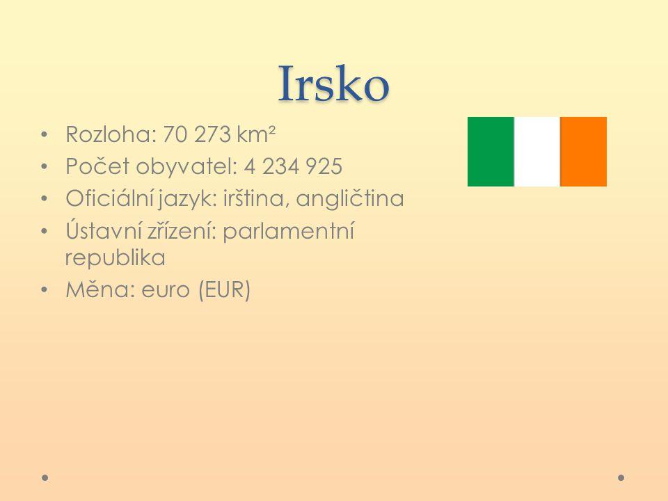Irsko Rozloha: 70 273 km² Počet obyvatel: 4 234 925 Oficiální jazyk: irština, angličtina Ústavní zřízení: parlamentní republika Měna: euro (EUR)