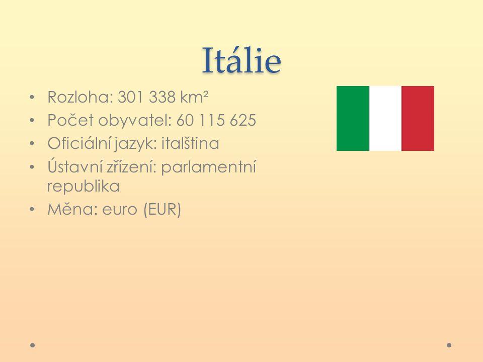 Itálie Rozloha: 301 338 km² Počet obyvatel: 60 115 625 Oficiální jazyk: italština Ústavní zřízení: parlamentní republika Měna: euro (EUR)