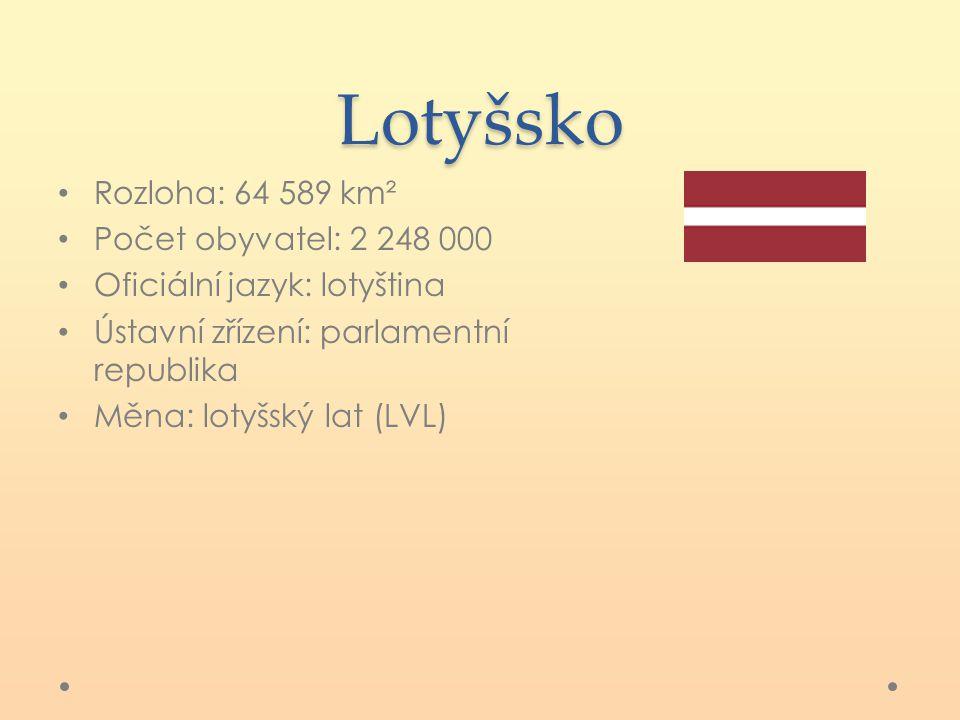 Lotyšsko Rozloha: 64 589 km² Počet obyvatel: 2 248 000 Oficiální jazyk: lotyština Ústavní zřízení: parlamentní republika Měna: lotyšský lat (LVL)