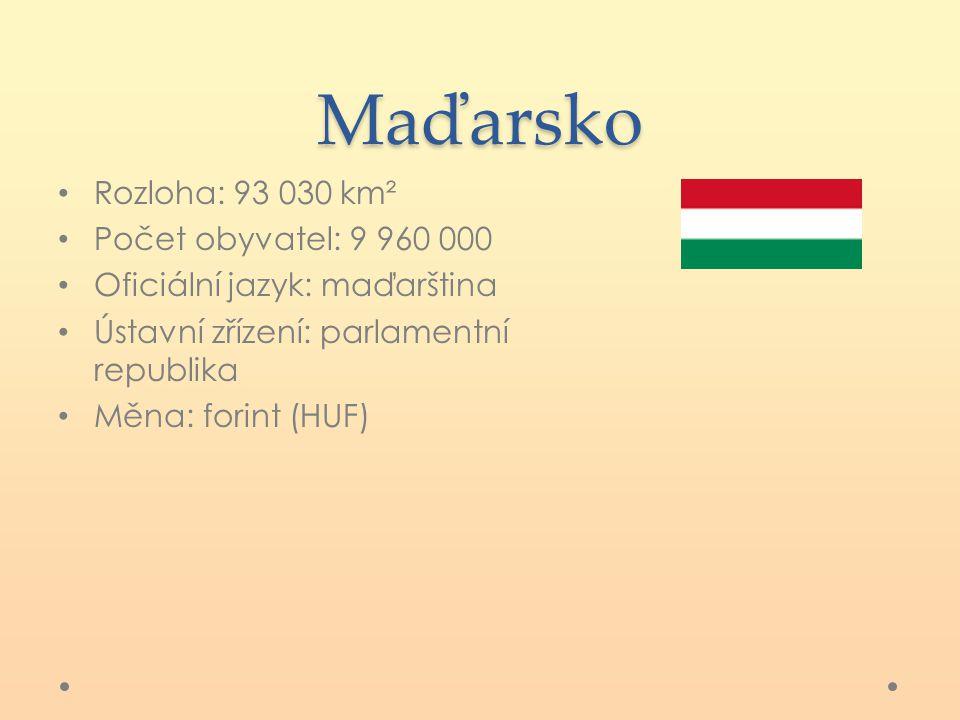 Maďarsko Rozloha: 93 030 km² Počet obyvatel: 9 960 000 Oficiální jazyk: maďarština Ústavní zřízení: parlamentní republika Měna: forint (HUF)